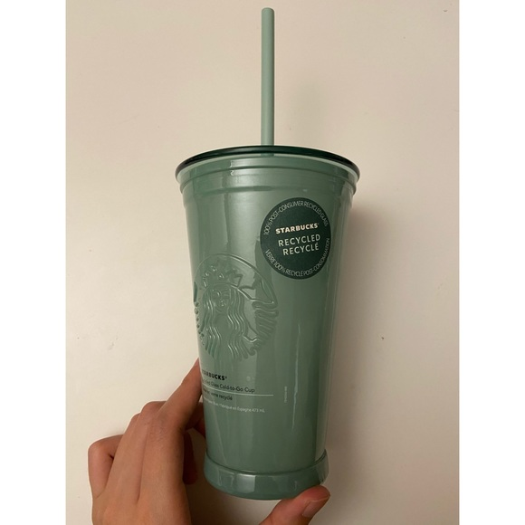 2021 Starbucks Green Frosted Recycled Glass Cup